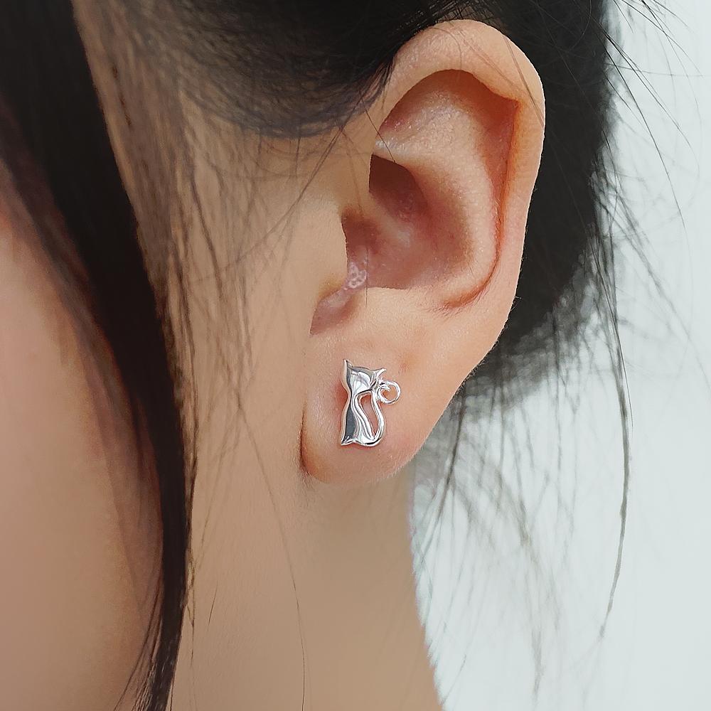 小貓咪簡約造型純銀耳環推薦 925銀飾