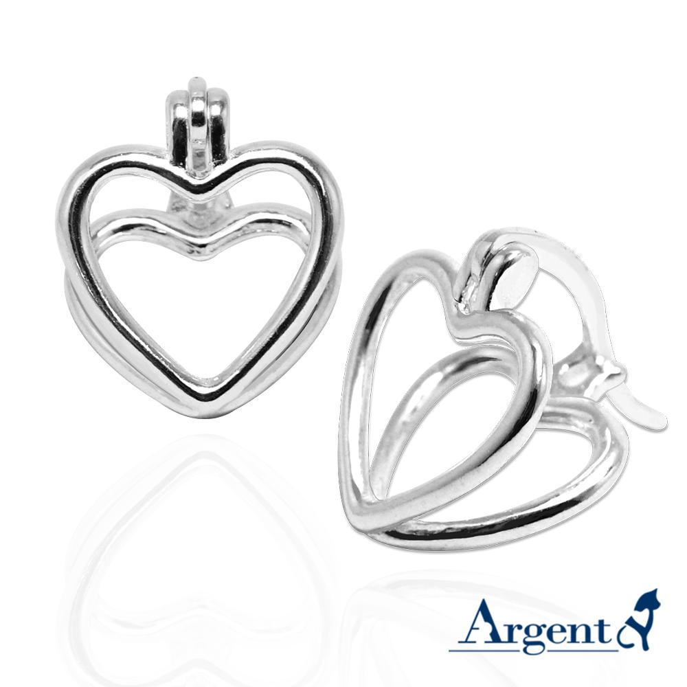 線條愛心造型純銀耳環|925銀飾