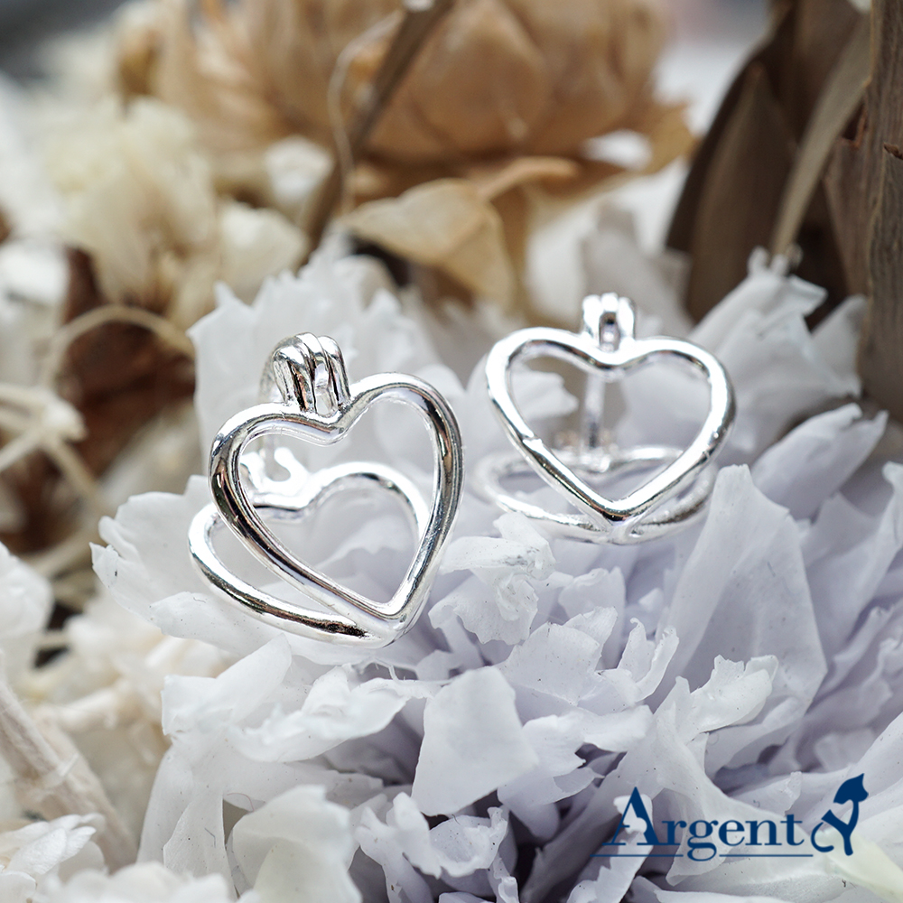 線條愛心造型純銀耳環 925銀飾