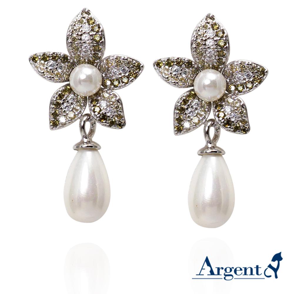 垂吊珍珠花瓣造型純銀耳環|925銀飾