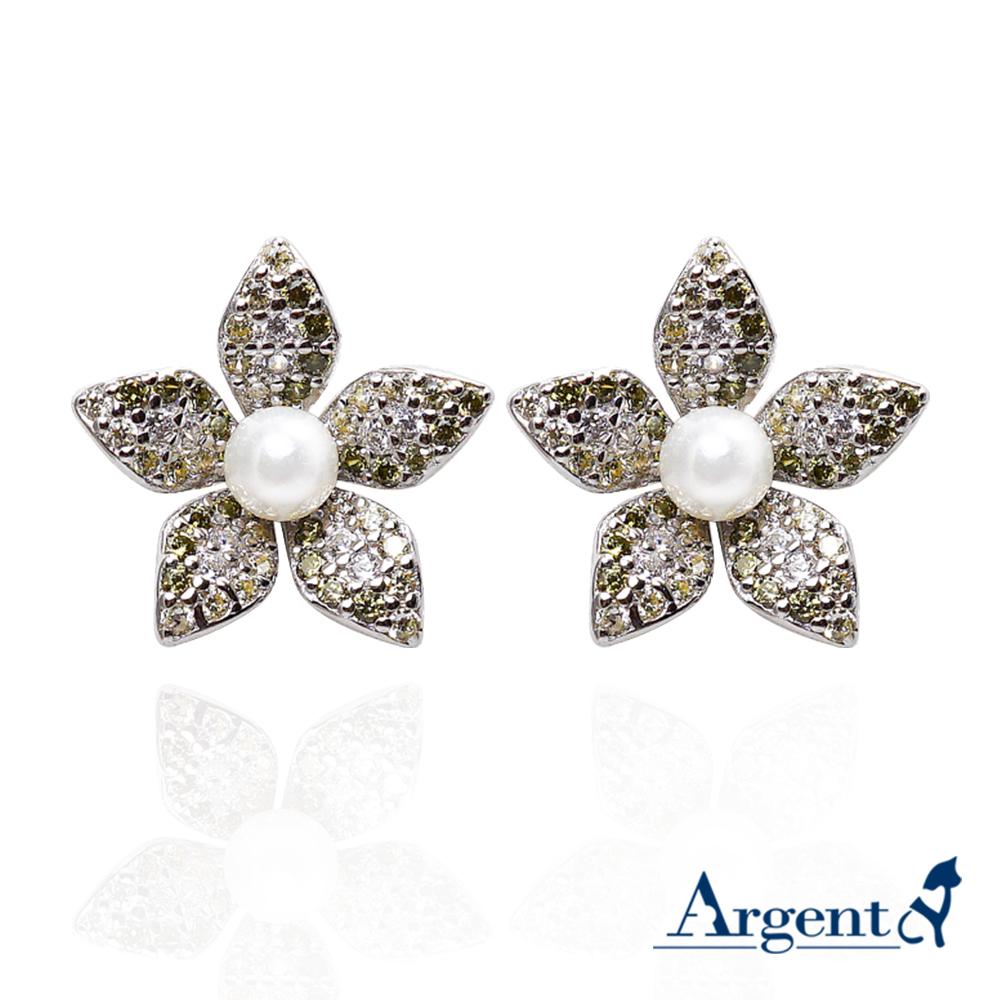 珍珠花瓣造型純銀耳環|925銀飾