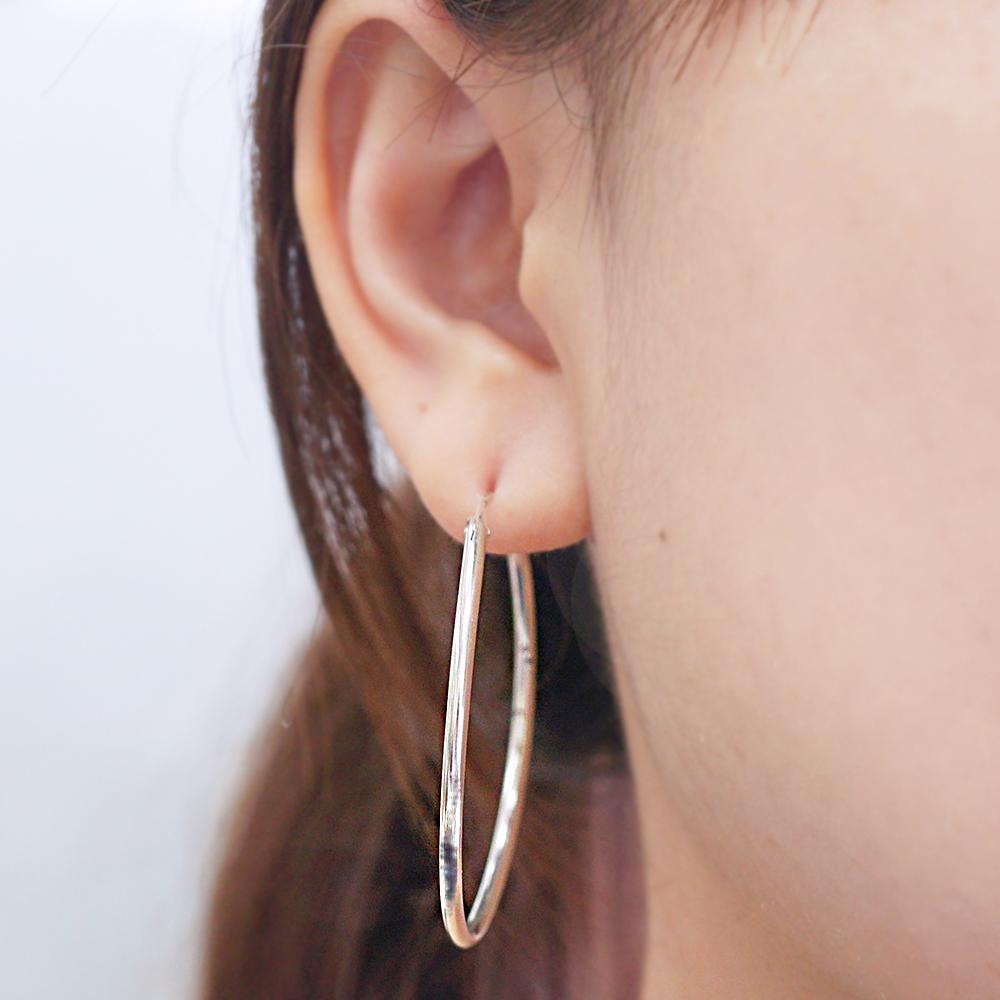 45mm素雅圓形耳針純銀耳環推薦|925銀飾