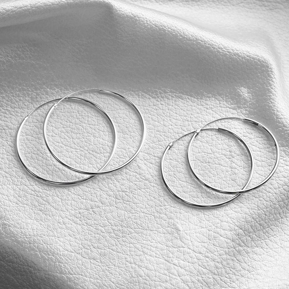 50mm素雅圓形耳針純銀耳環推薦|925銀飾
