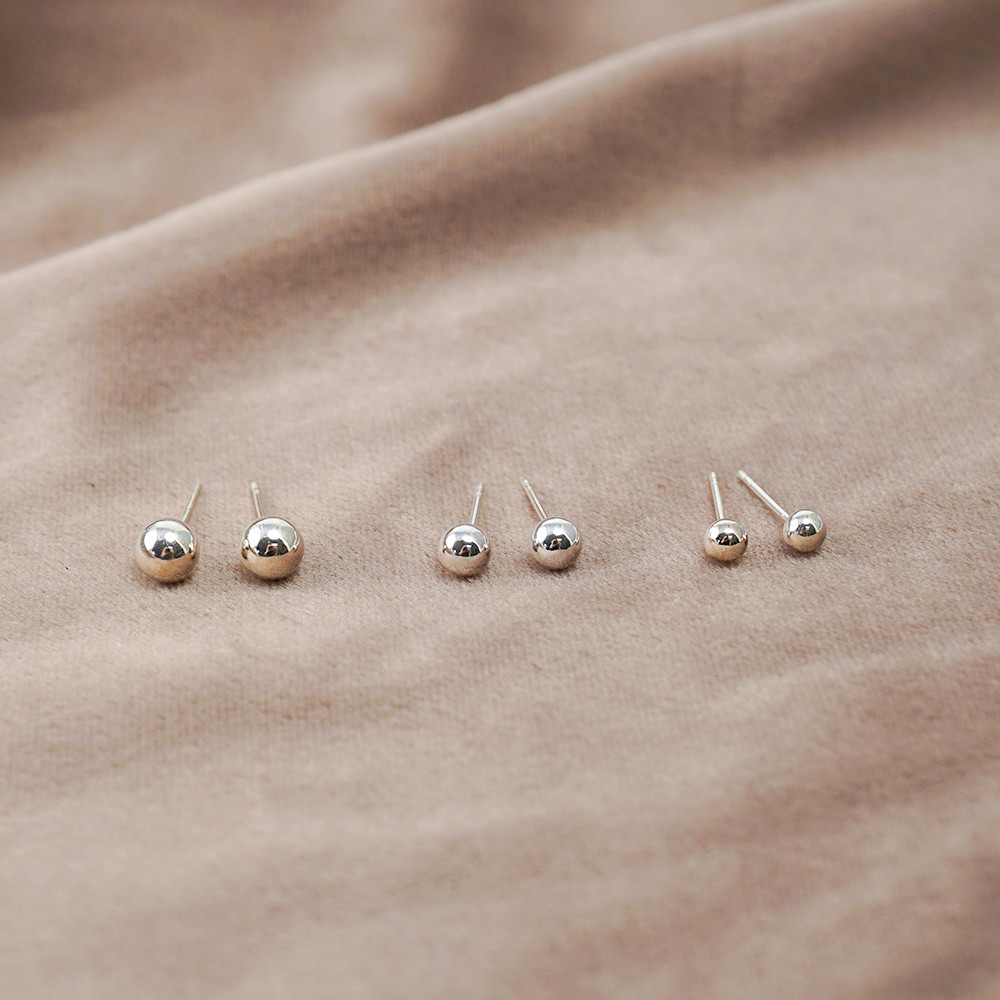 圓珠(大/中/小)造型純銀耳環推薦|925銀飾