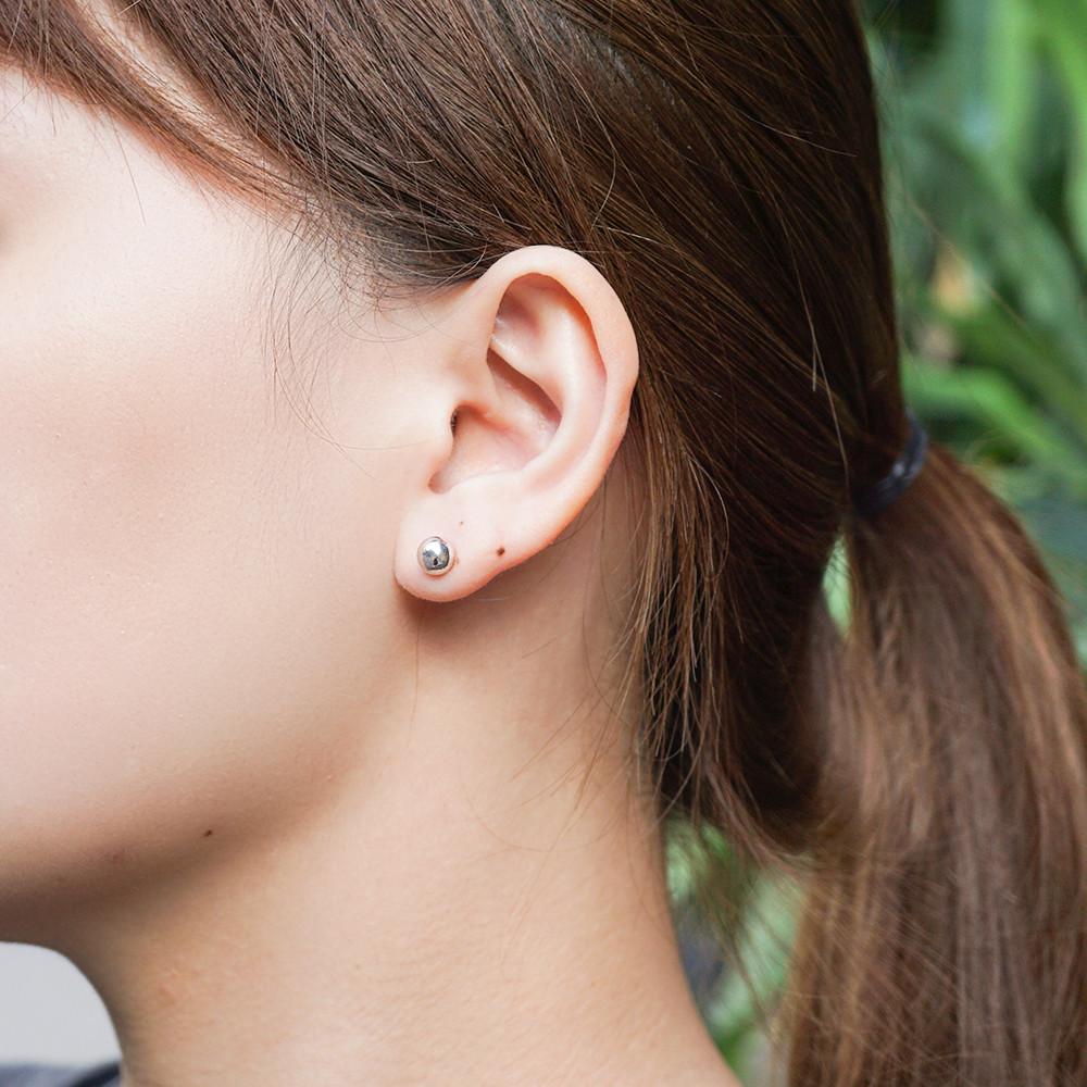 圓珠(大)造型純銀耳環推薦|925銀飾