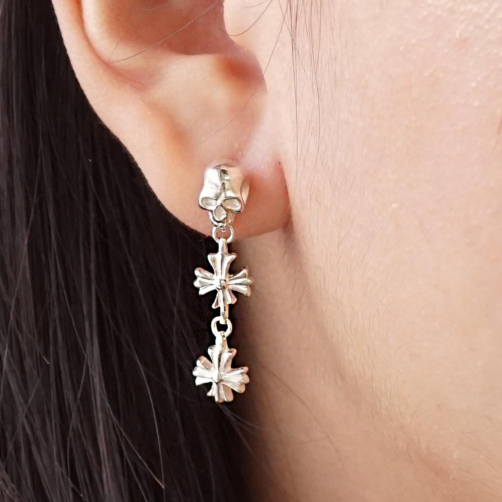 垂吊骷髏十字造型純銀耳環推薦|925銀飾