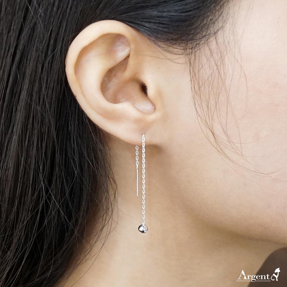 流蘇圓珠(小.4mm)造型純銀耳環推薦|925銀飾
