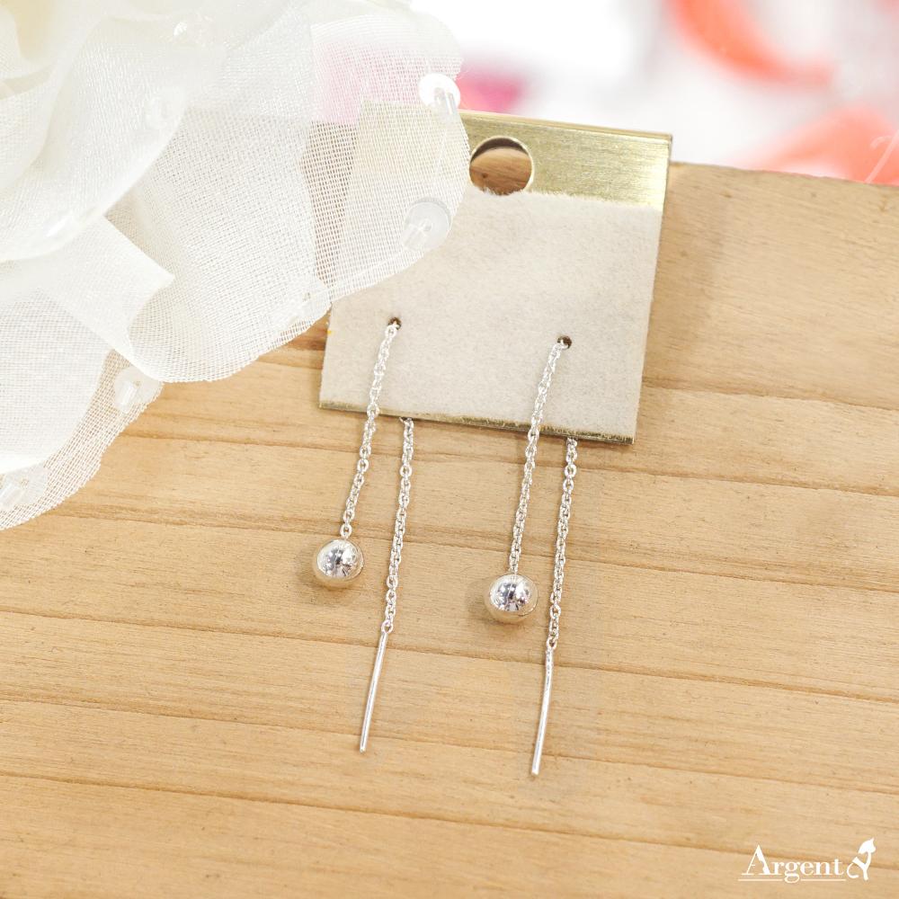 流蘇圓珠(中.5mm)造型純銀耳環推薦|925銀飾