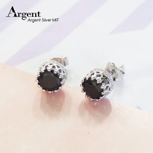 圆钻皇冠造型纯银耳环推荐|925银饰