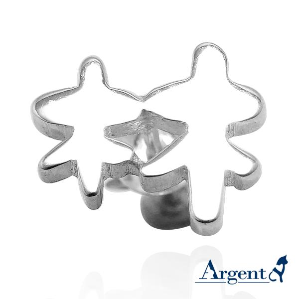耳針款單邊耳貼中文單字純銀耳環對銀飾|客製化耳環