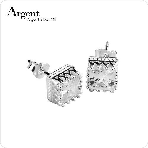 方鑽皇冠造型純銀耳環推薦|925銀飾