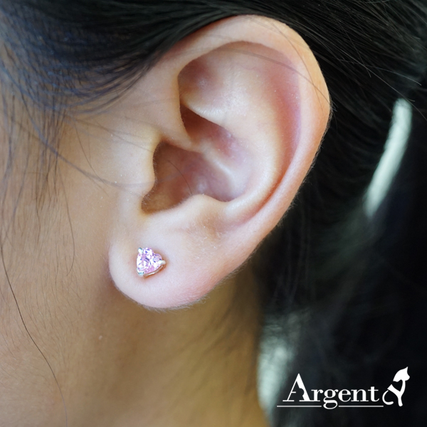 心鑽簡約彩鑽鑲嵌純銀耳環推薦|925銀飾