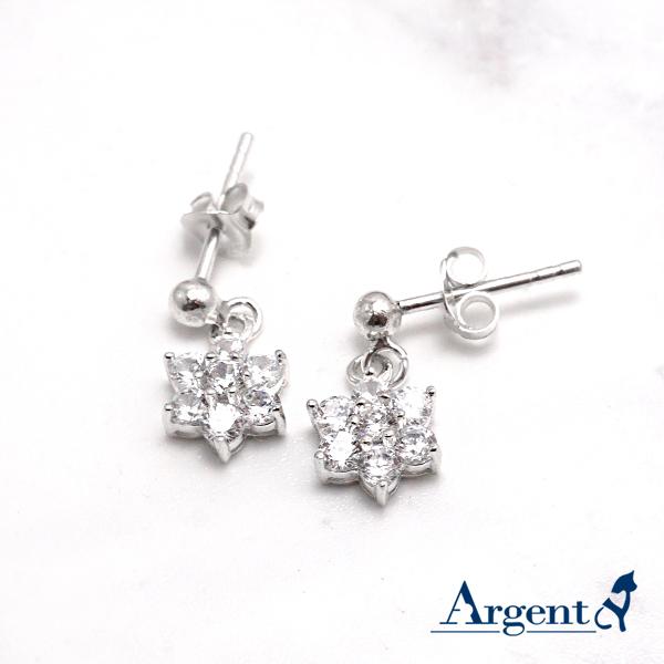 雪晶花漾造型耳針純銀耳環推薦|925銀飾
