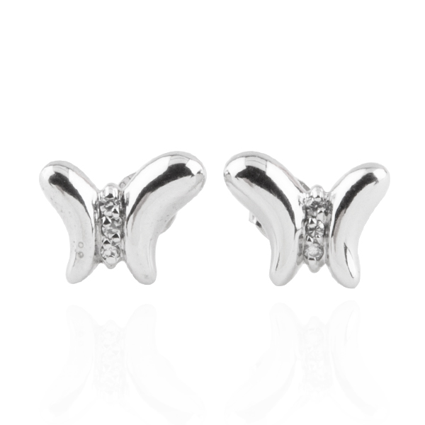 小蝴蝶造型(白K金)純銀耳針套組|銀飾推薦