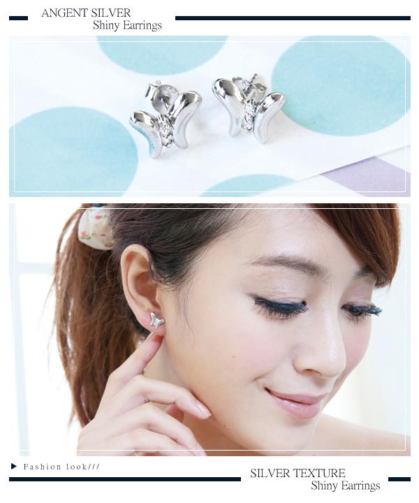 小蝴蝶造型(白K金)純銀項鍊耳針套組|銀飾推薦