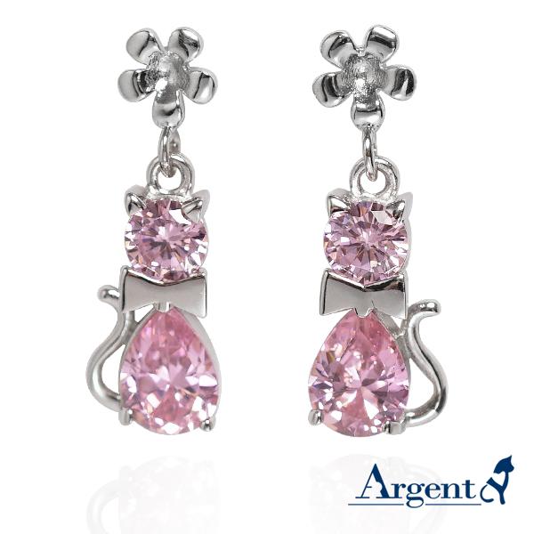 優雅貓造型耳針純銀耳環-粉紅色