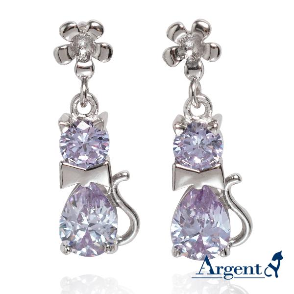 優雅貓造型耳針純銀耳環-淺紫色