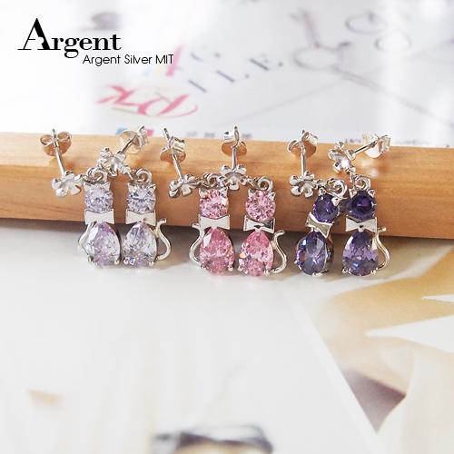 優雅貓造型耳針純銀耳環推薦|925銀飾