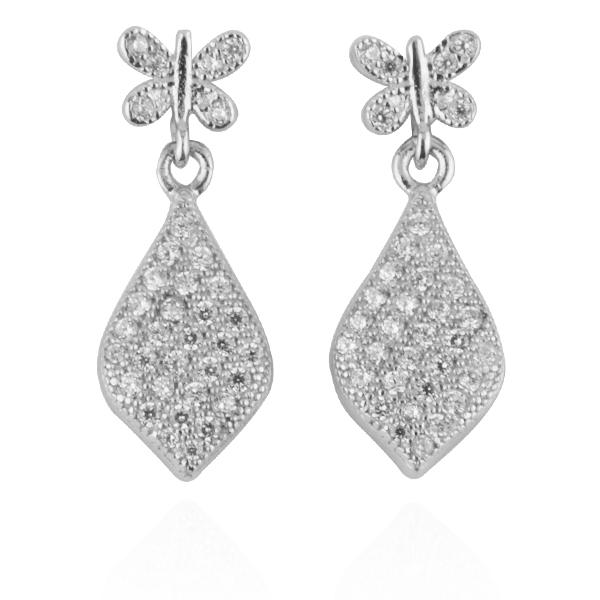 蝶戀葉滴造型耳針純銀耳環推薦|925銀飾