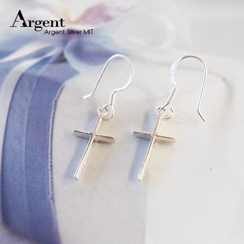 立體十字造型耳勾純銀耳環推薦|925銀飾