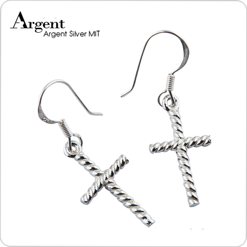 纹十字造型耳勾纯银耳环推荐| 925银饰