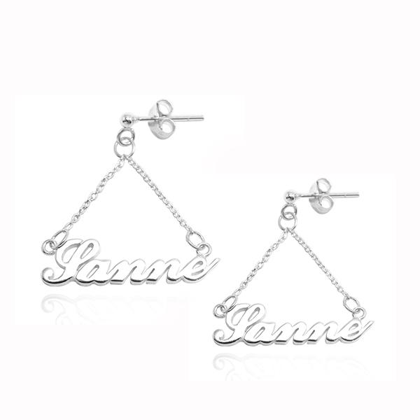 英文名字垂吊耳針款銀飾|客製化耳環