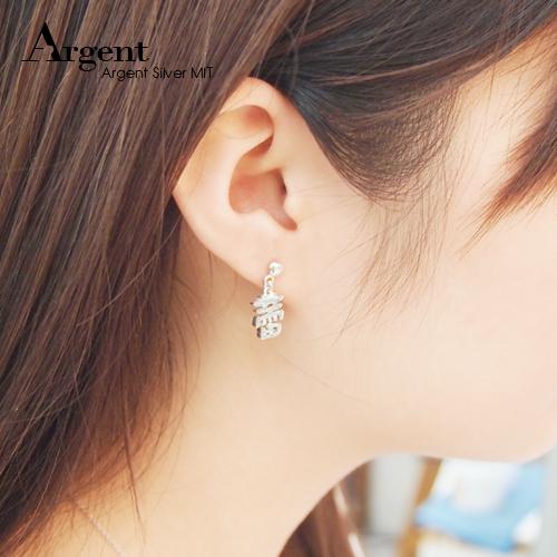中文耳針款單字純銀耳環對飾|客製化耳環