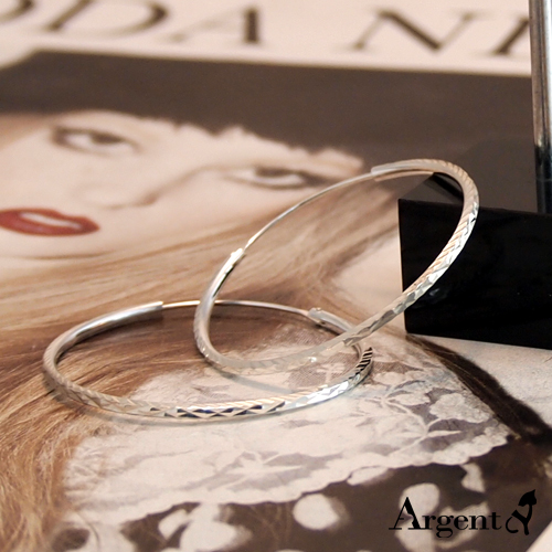 45mm斜紋圓形純銀耳環推薦|925銀飾