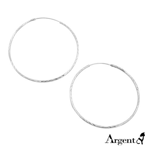 50mm斜紋圓形純銀耳環推薦|925銀飾