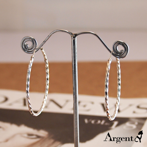40mm扭紋圓形純銀耳環推薦|925銀飾