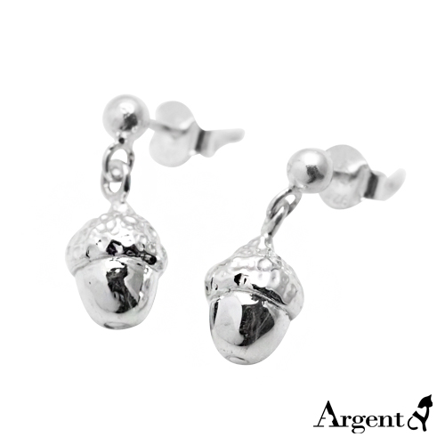 小橡果造型耳針純銀耳環推薦|925銀飾