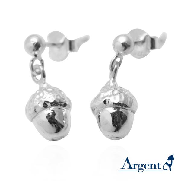 小橡果造型耳针纯银耳环推荐|925银饰
