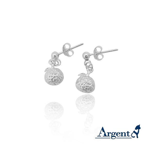 小橘子造型耳針純銀耳環推薦|925銀飾