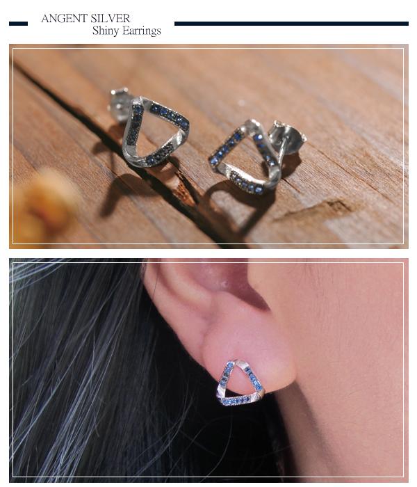 變幻三角造型耳針純銀耳環銀飾|銀耳環推薦