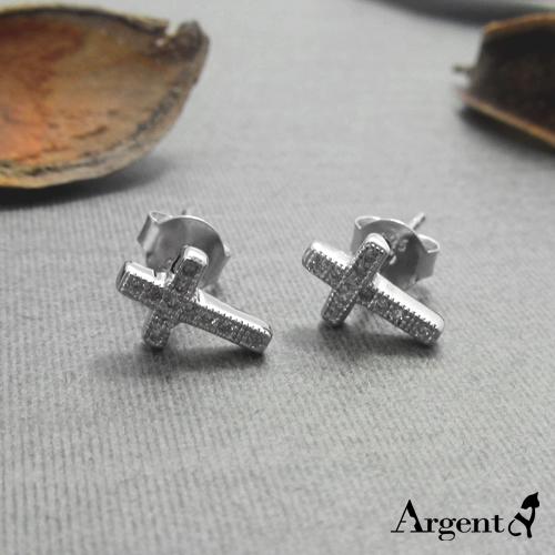迷你钻十字造型纯银耳环推荐|925银饰