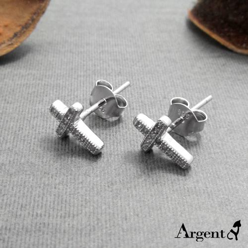 迷你鑽十字造型純銀耳環推薦|925銀飾