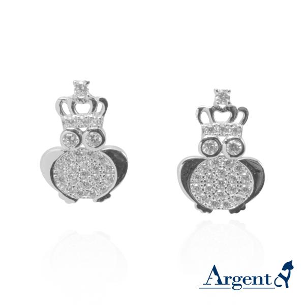 皇冠貓頭鷹造型純銀耳環推薦|925銀飾