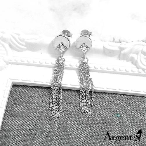 小圓流蘇造型彩鑽純銀耳環推薦|925銀飾