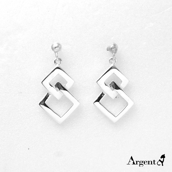 雙菱造型耳針純銀耳環推薦|925銀飾