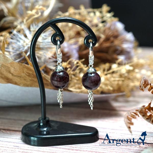 紅石榴石 3鑽簡約垂簾|純銀耳環-天然半寶石手工包台