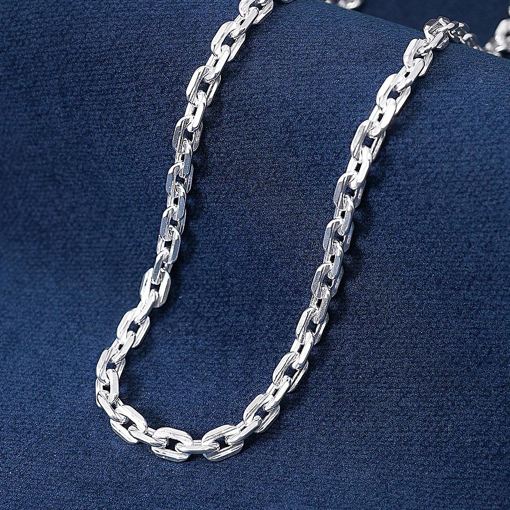 方格6.5mm單條純銀項鍊銀飾