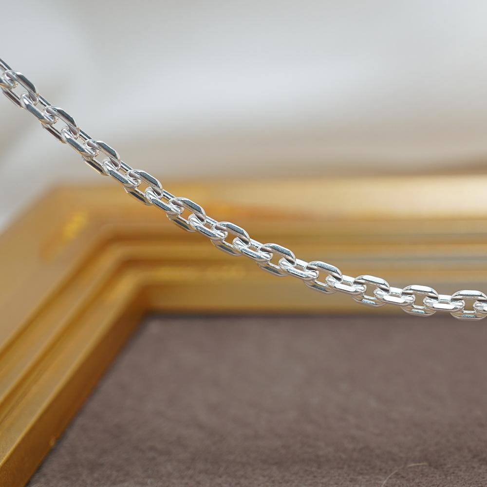 方格鍊4mm造型純銀項鍊銀飾|銀項鍊推薦