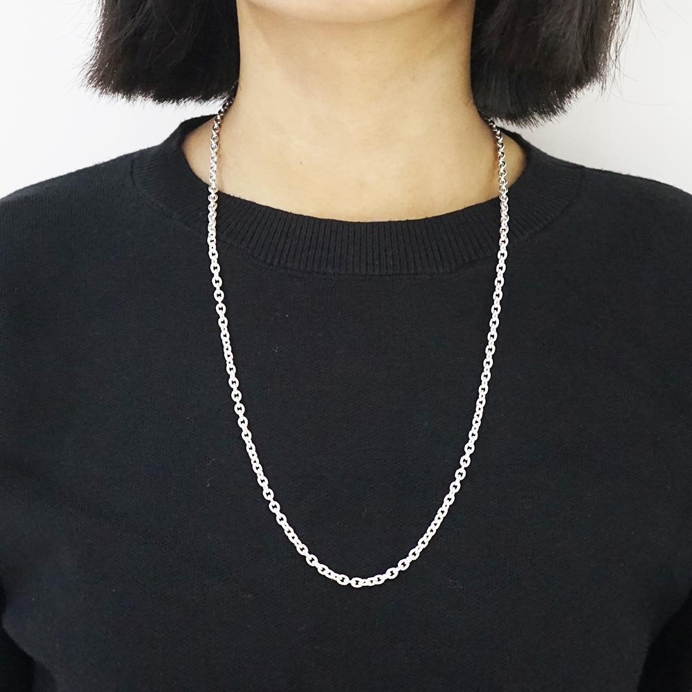 橢圓鍊4mm造型純銀項鍊銀飾|銀項鍊推薦