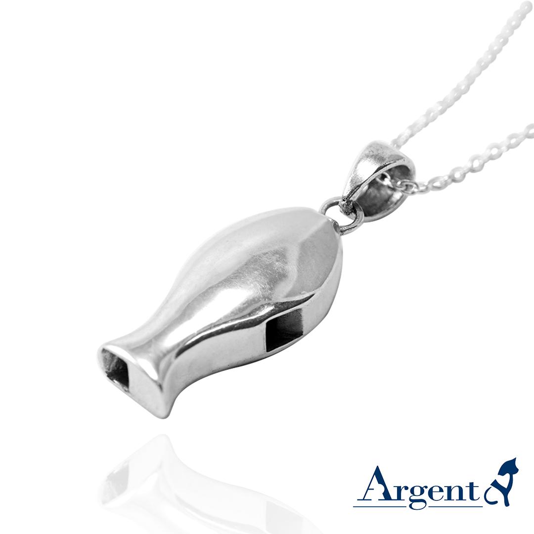 哨子魚可愛造型純銀項鍊銀飾