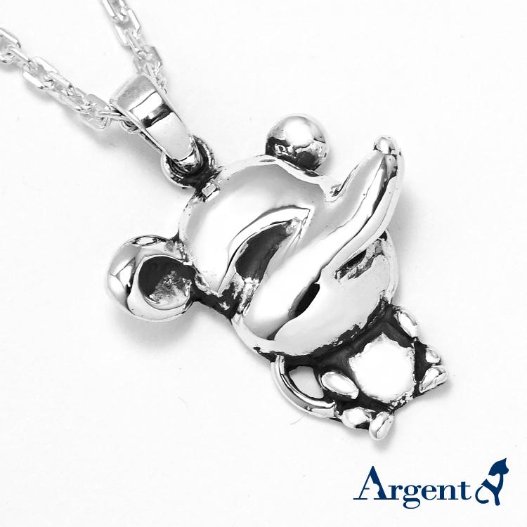 12生肖-鼠造型雕刻純銀項鍊