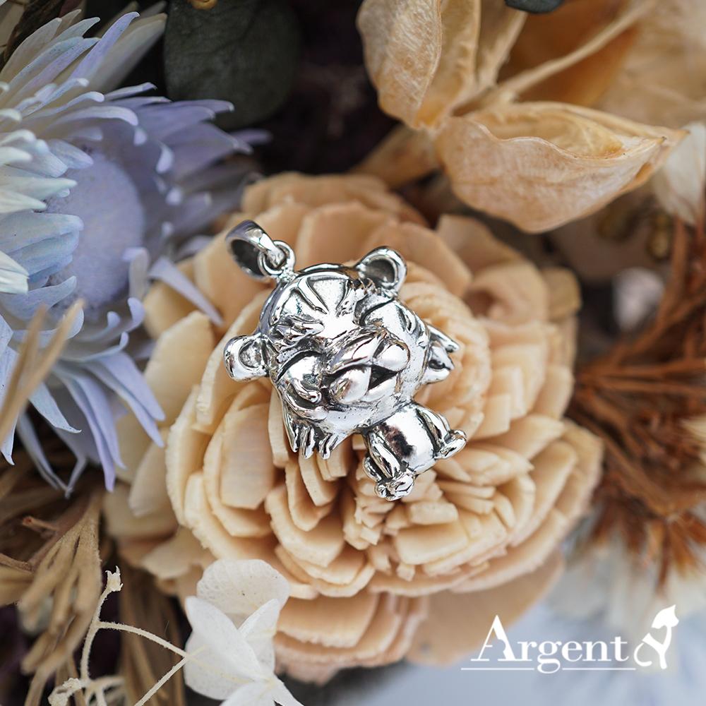 12生肖-虎造型雕刻純銀項鍊