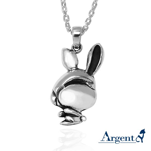 12生肖-兔造型雕刻純銀項鍊
