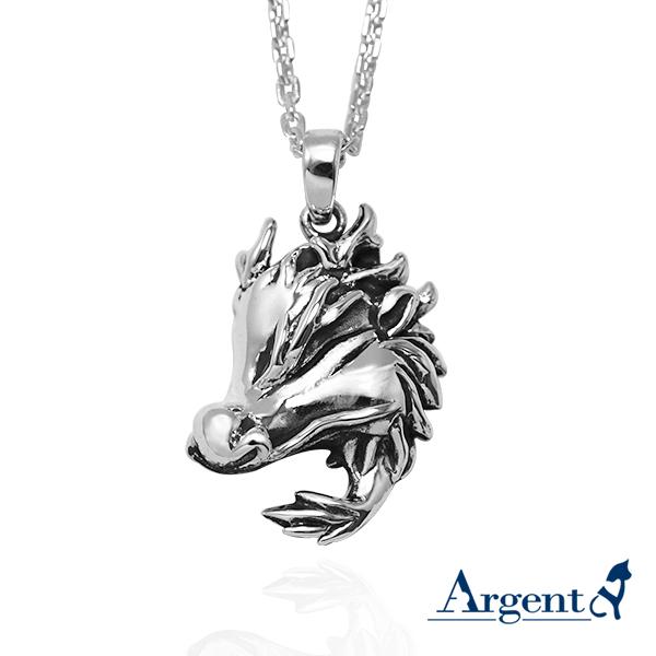 12生肖-龍造型雕刻純銀項鍊