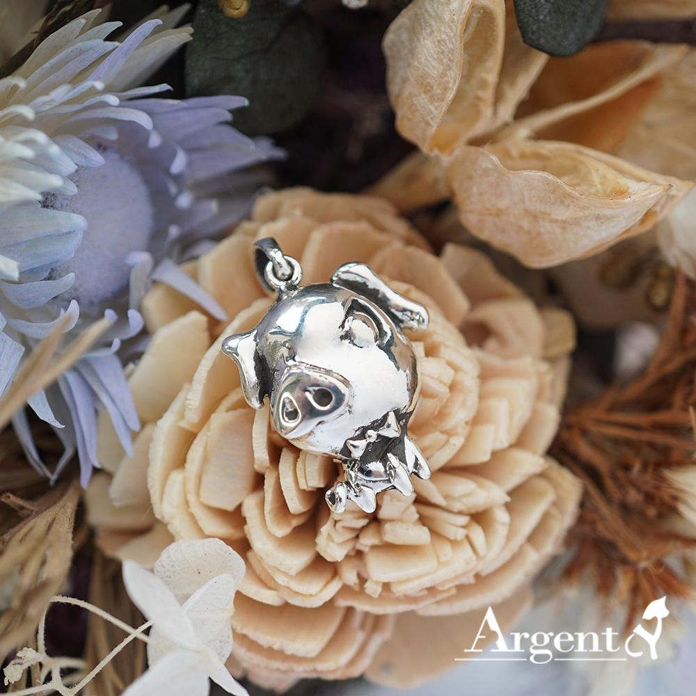 12生肖-豬造型雕刻純銀項鍊