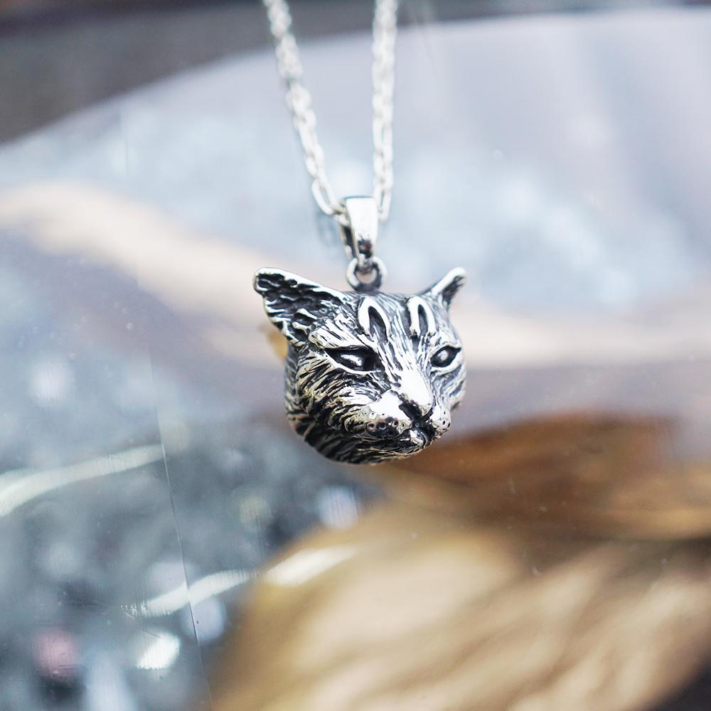 虎斑貓(小虎)正面立體造型後面平面-動物雕刻純銀項鍊